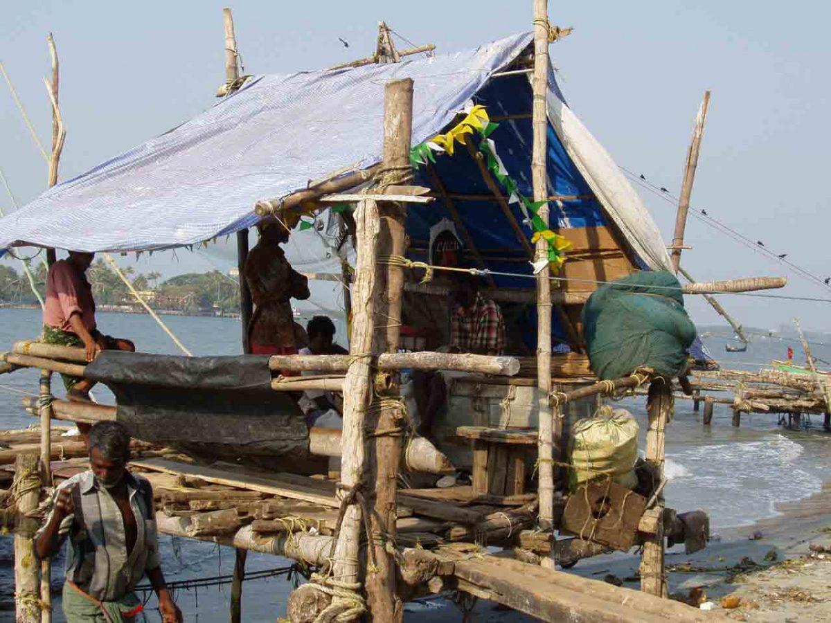 Fishermen in their hut