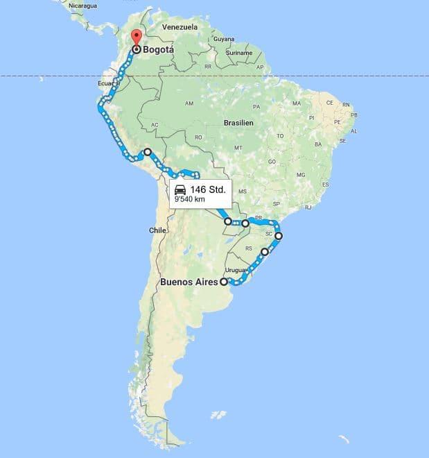 Geplante Route von Buenos Aires bis Bogotà
