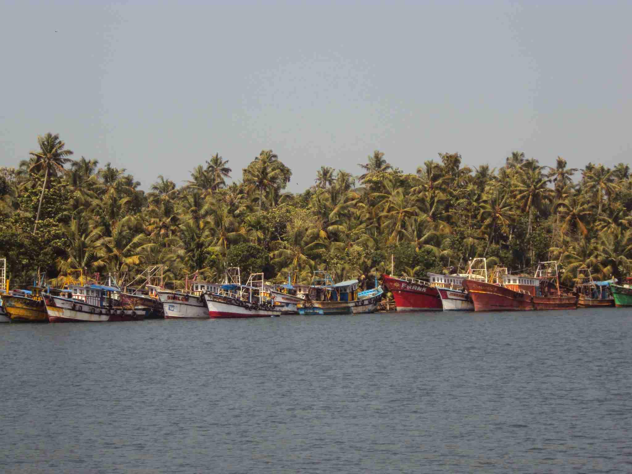 Ship parade on the shore
