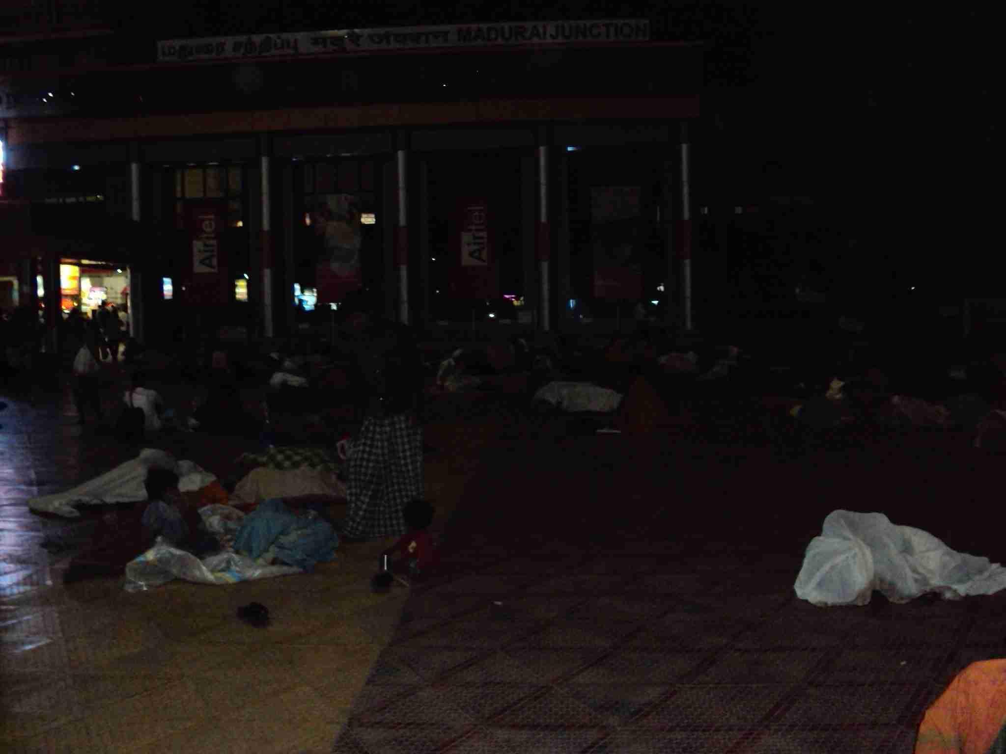 Night camp at train station