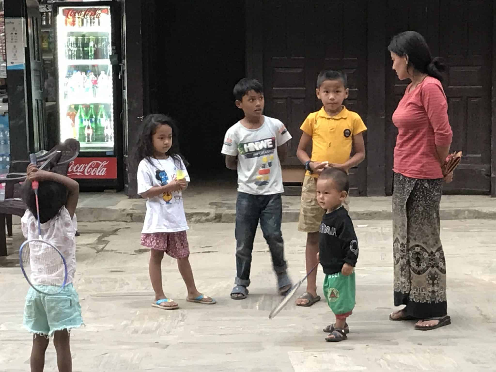 children playing on the street