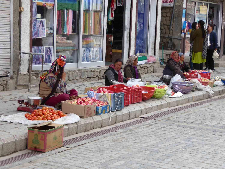 Vegetable sale on the sidewalk