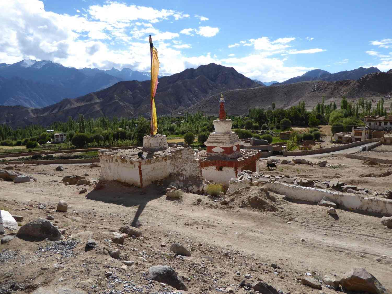 Stupas on the road to Likir
