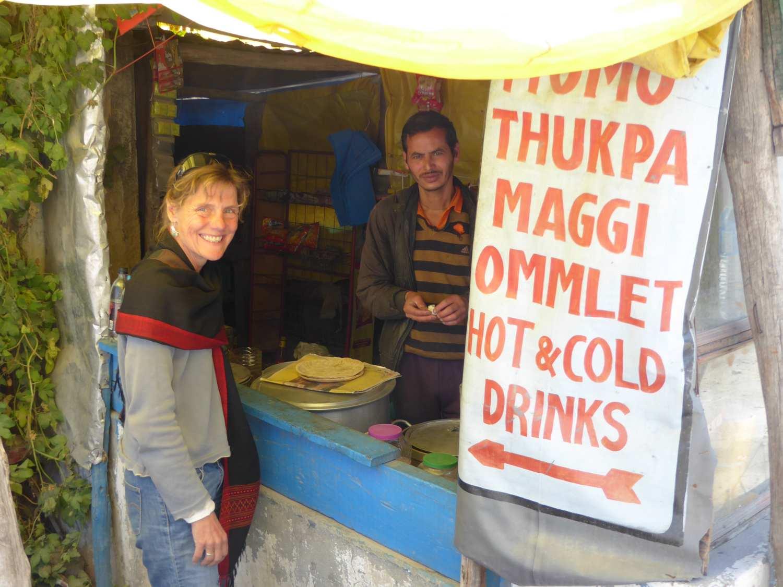 Anja has the choice - ommlet or thukpa