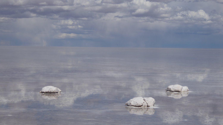 Uyuni Salt Flat strange stones in water