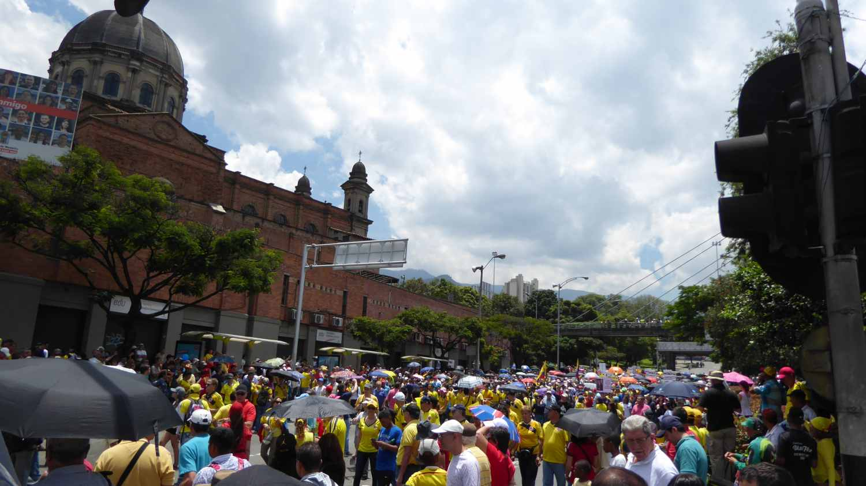 Protesters in Medellin