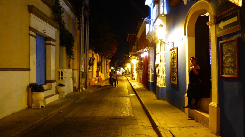 Warm yellow light filling the enpty alleys