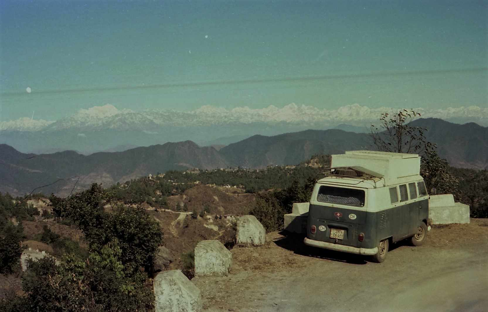 VW-Bus with Himalaya in background