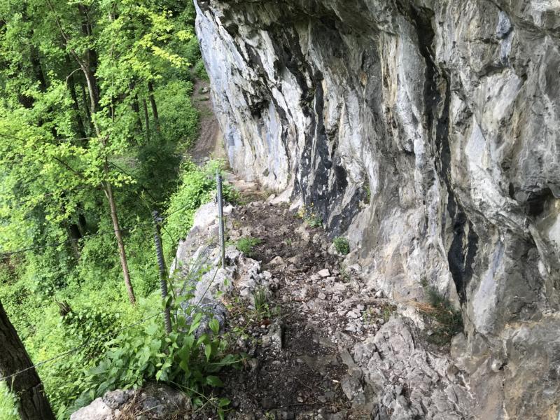 across a vertical wall
