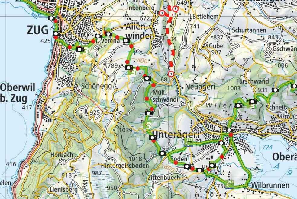 From Unterägeri to Zug