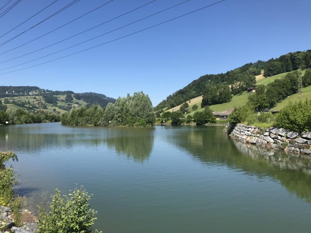 Reservoir lake at the Kleine Emme