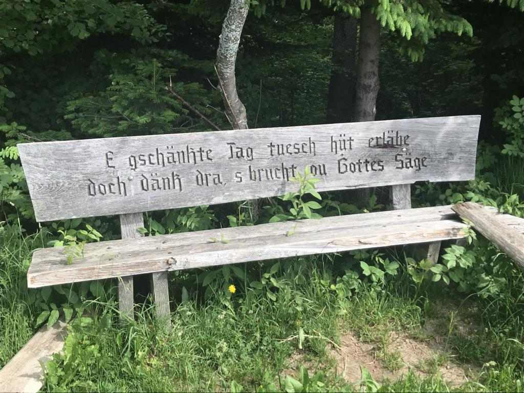 Bench with religious saying